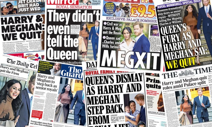 Queen's fury': what the papers say about Harry and Meghan's bombshell |  Meghan, the Duchess of Sussex | The Guardian