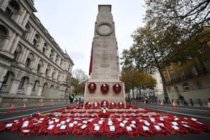 Wreaths lie around the Cenotaph on Whitehall in London