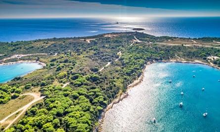 An aerial view of Cape Kamenjak in Croatia.