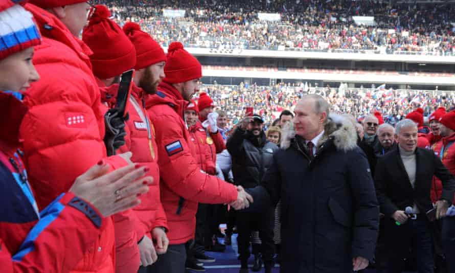 Vladimir Putin at the pre-election campaign rally