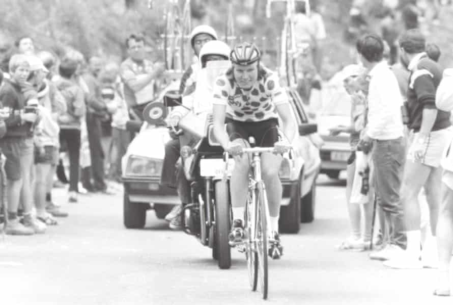 Marianne Martin riding in the polka-dot jersey