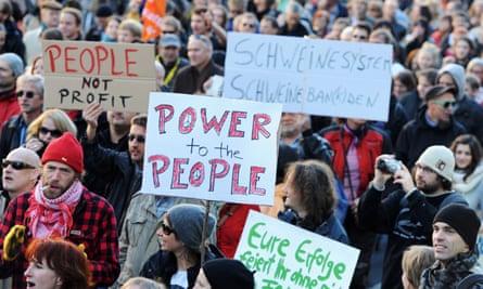 Occupy protest in Frankfurt, 2011.