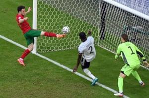 Diogo Jota scores Portugal's second goal.