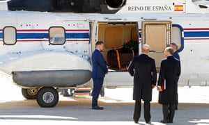 Franco's coffin is loaded on to a helicopter