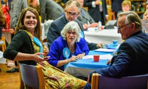 Brexit party candidate (now MEP) Ann Widdecombe checks results on the TV at the civic centre in Poole