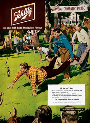 This Schlitz beer ad from 1951 was used in Life magazine. The company's postwar campaign was focused on the simple pleasures found in daily life