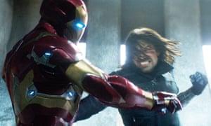 Robert Downey, Jr, left, and Sebastian Stan in a scene from Marvel's Captain America: Civil War