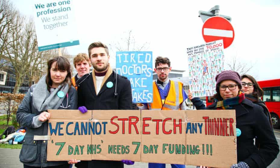 Junior doctors strike outside North Middlesex hospital, London, April 2016