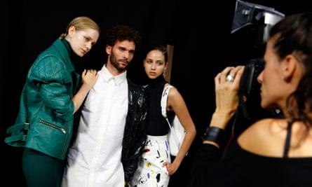 Models pose backstage before the Teatum Jones spring/summer 2017 runway show at London fashion week.