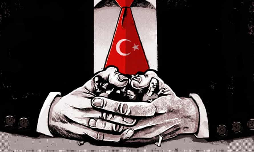 Illustration, of Turkish leader (with crescent-motif tie) crushing opposition with thumbs, by Ben Jennings