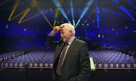 David Dimbleby prepares for a BBC EU referendum debate at Wembley Arena in the week of the poll in June.