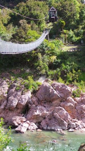 The bridge and zip line over Buller Gorge