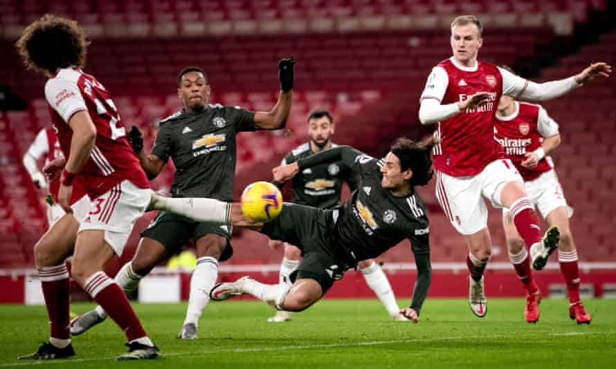 Edinson Cavani's falling volley for Manchester United at Arsenal