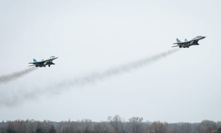 Ukrainian fighter jets during a training session of the Ukrainian air force.