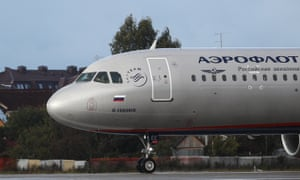 An Aeroflot plane at Sheremetyevo airport in Moscow