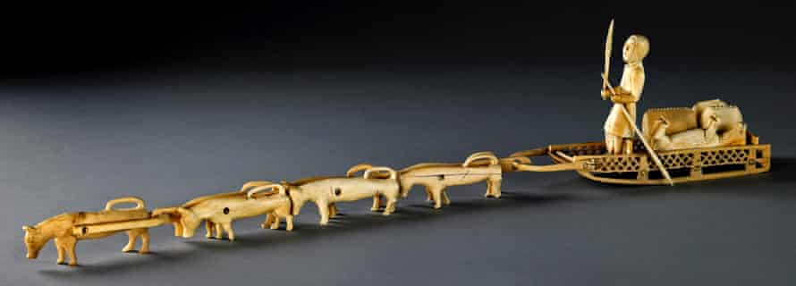 An ivory model sled with dogs, north-east Siberia, Russia.