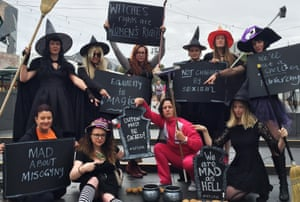 Women (including Van Badham) dressed as 'mad witches' as part of an equality protest in Melbourne in January 2016.