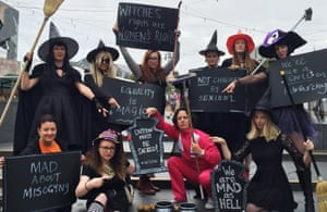 "Women (including Guardian writer Van Badham) dressed as 'mad witches' as part of an equality protest in Federation Square, Melbourne, Australia, in January 2016. They were demanding the sacking of immigration minister Peter Dutton who sent a text message to a female journalist calling her a ""mad fucking witch""."