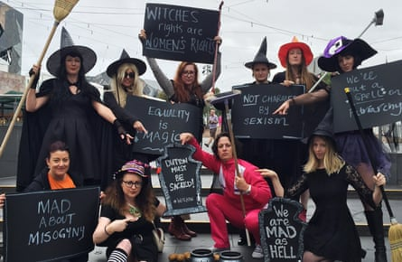 """Women (including Guardian writer Van Badham) dressed as 'mad witches' as part of an equality protest in Federation Square, Melbourne, Australia, in January 2016. They were demanding the sacking of immigration minister Peter Dutton who sent a text message to a female journalist calling her a """"mad fucking witch""""."""