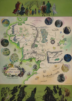 pauline baynes iconic poster map of middle earth published in 1970