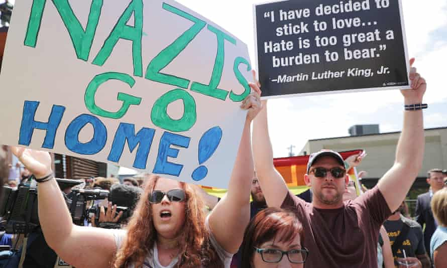 Protesters target the 'alt-right' figurehead Jason Kessler in Charlottesville. Kessler was an organizer of the 'Unite the Right' rally.