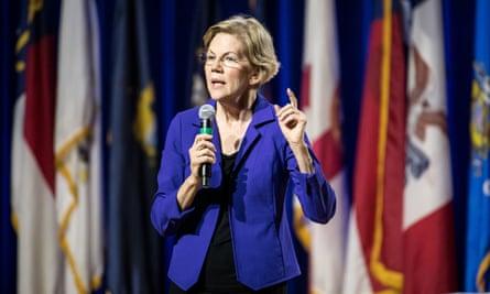 Elizabeth Warren addresses the audience at South Carolina State University in Orangeburg.