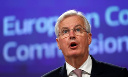EU's chief Brexit negotiator, Michel Barnier, addresses a news conference in Brussels.