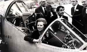 Margaret Thatcher in an unfinished Harrier at British Aerospace in 1982.