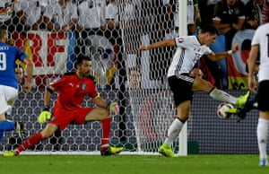 Mario Gomez attempts a backheel shot which deflects of Chiellini and Buffon makes a top-class save.