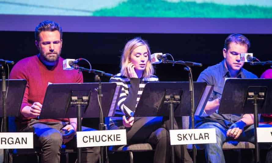 Ben Affleck, Emily Blunt and Matt Damon perform Good Will Hunting.