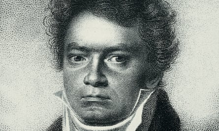 An 1814 etching of Ludwig van Beethoven by Blasius Hoefel, after a drawing of Louis Letronne.