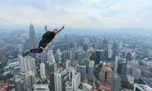 'Emotional skydivers': a base jumper in Kuala Lumpur
