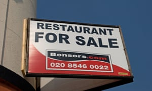 A 'restaurant for sale' sign in Surrey