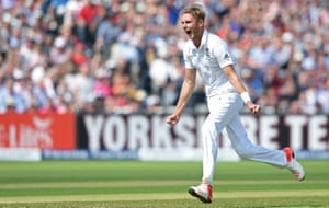 Broad strikes – catching Rogers on his back pad. Rogers ponders a review, then asks Warner what he thinks, then ponders some more, and then calls for the review – but he's taken too long, and is sent packing anyway for six.