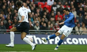 Giampaolo Pazzini scores the first goal at the new Wembley, for Italy in an Under-21 international against England, in March 2007.