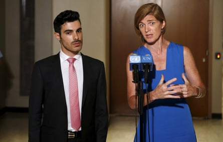 Gay Syrian refugee Subhi Nahas with US Ambassador to the UN Samantha Power during an informal meeting on the persecution of LGBT people by Isis.