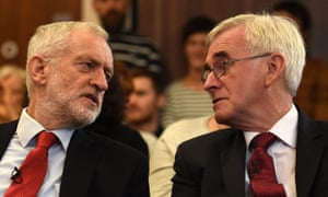 Jeremy Corbyn with shadow chancellor John McDonnell at a campaign event in Lancaster.