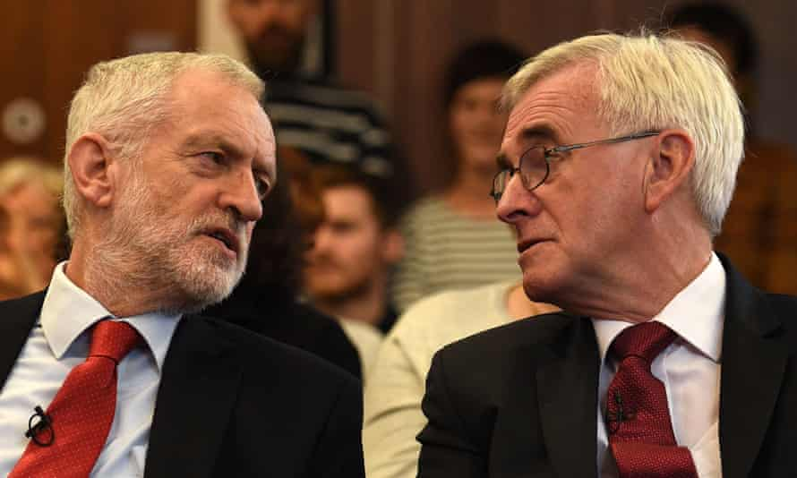 Labour party leader Jeremy Corbyn and shadow chancellor John McDonnell at an election campaign event in Lancaster.