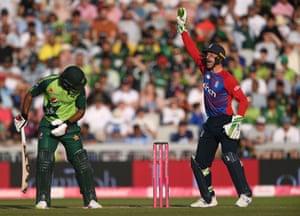 Pakistan batsman Fakhar Zaman is out lbw after review as Jos Buttler appeals.