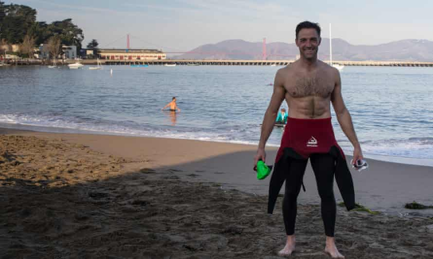 Graham Little after completing his swim from Alcatraz Island to San Francisco.
