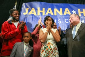 Democratic congressional candidate Jahana Hayes reacts after appearing at her midterm election night party in Waterbury, Connecticut, U.S.