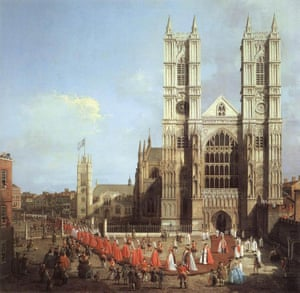 Westminster Abbey with a procession of the Knights of the Bath is the earliest work of art to depict the abbey's famous west towers