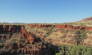 large cliff face of red rock and sparse green vegetation