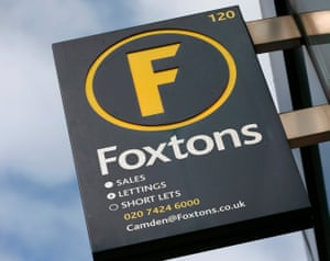 A Foxtons estate agent sign outside a branch in north London.