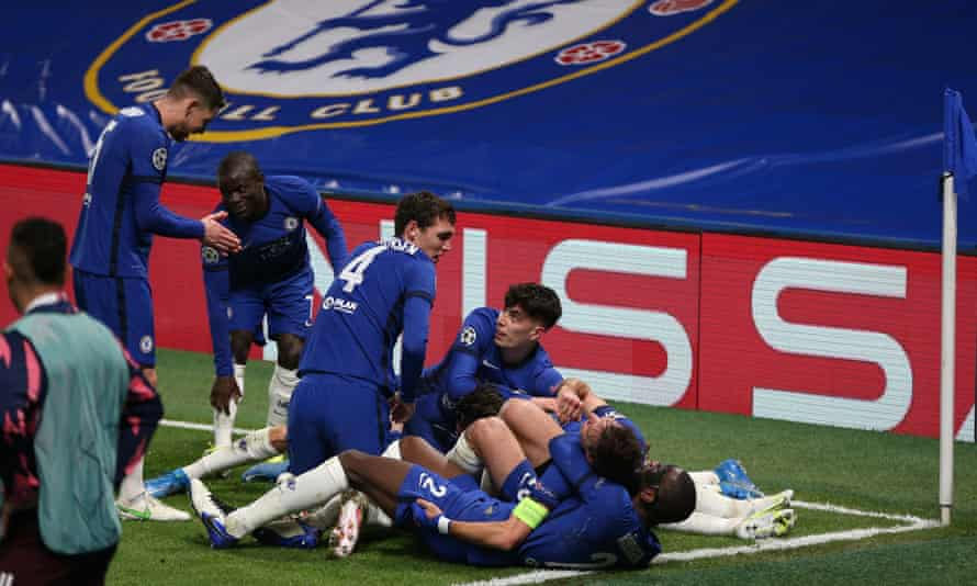 Chelsea celebrate their second goal in the 2-0 second-leg win over Real Madrid.