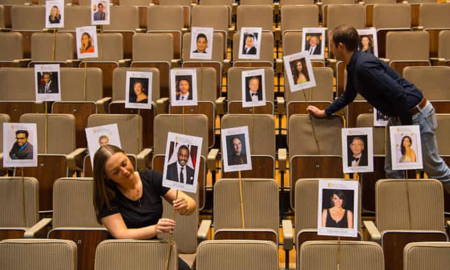 Bafta staff prepare the seating plan for nominees and guests