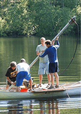 Lead author Jeremiah Marsicek, Bryan Shuman, and others collecting mud cores.