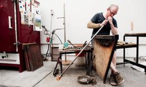 Glassmaker Michael Ruh at work in his south London studio.