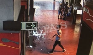 Younes Abouyaaqoub caught on CCTV walking through La Boqueria food market after the attack.