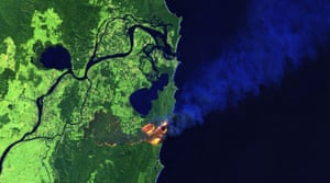 False colour satellite image of the bushfire near Yamba, NSW, Australia, on 8 September 2019.